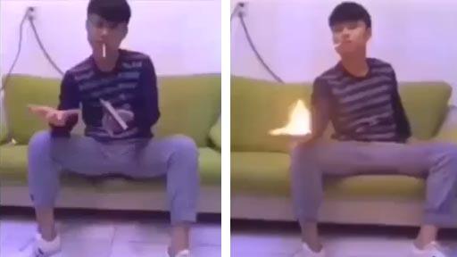 Usar la mano para encender un cigarro