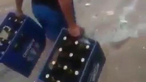Crossfit con cajas de cerveza