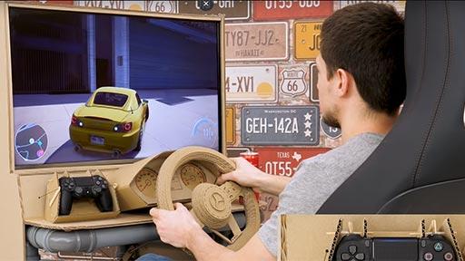 Simulador de conducción de cartón